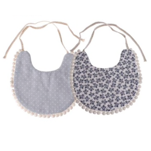 Bib Pompom blue flower